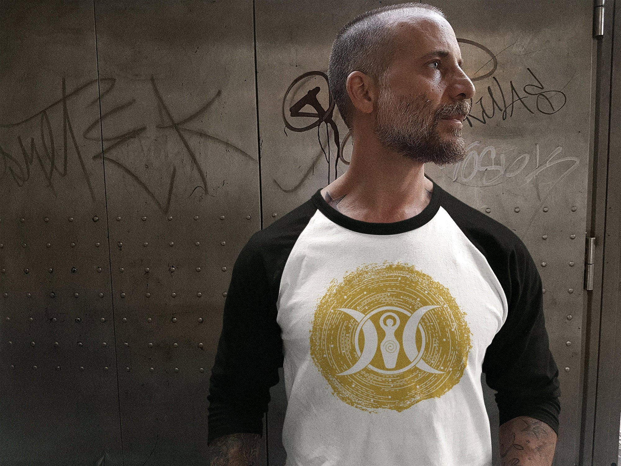 Shirts & Tops Wiccan Triple Moon Goddess Unisex 3/4 Raglan Shirt Ancient Treasures Ancientreasures Viking Odin Thor Mjolnir Celtic Ancient Egypt Norse Norse Mythology