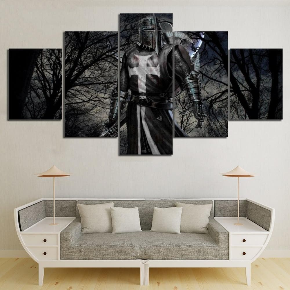 Small / No Frame HD Print Templar Black Forest Sea Knight Wall Art