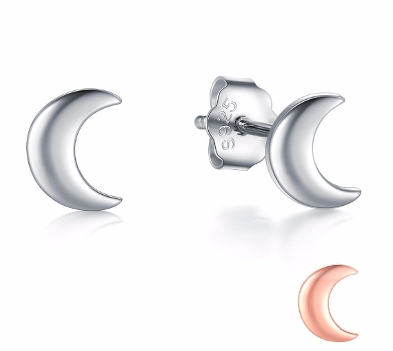 Stud Earrings Modian New 2019 Solid 925 Sterling Silver Rose Gold Color Moon Stud Earrings For Women Trendy Small Exquisite Jewelry Bijoux|moon stud earring|stud earringsstud earrings for women Ancient Treasures Ancientreasures Viking Odin Thor Mjolnir Celtic Ancient Egypt Norse Norse Mythology