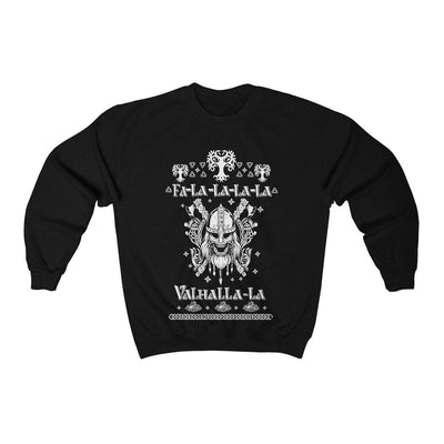 Sweatshirt Black / L Unisex Viking Ancient Warrior Fa-La-La Valhalla Christmas Holiday Sweater