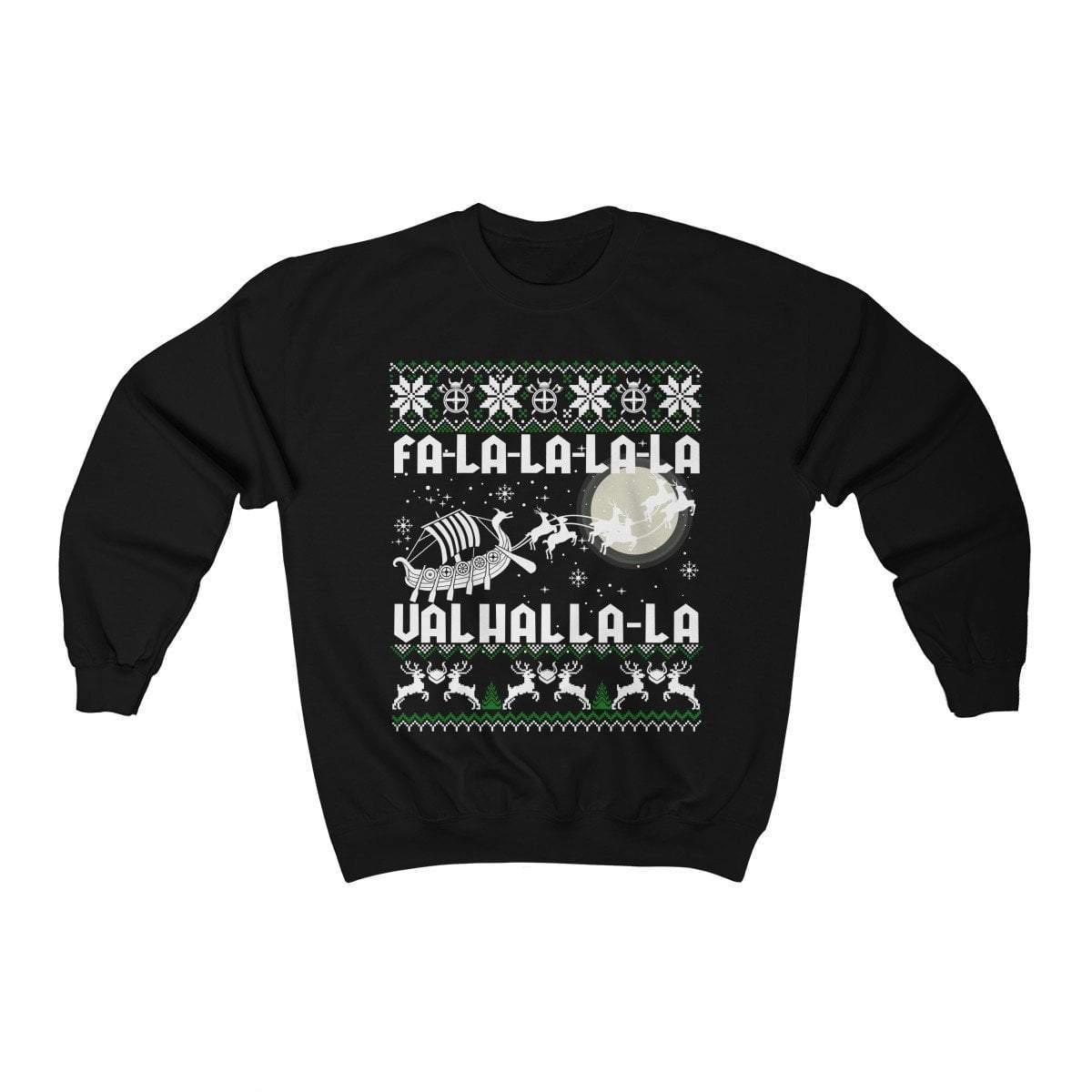 Sweatshirt Black / L Unisex Viking Drakkar Fa-La-La Valhalla Christmas Holiday Sweater Ancient Treasures Ancientreasures Viking Odin Thor Mjolnir Celtic Ancient Egypt Norse Norse Mythology