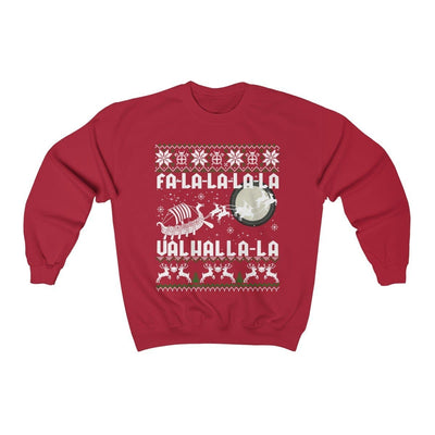 Sweatshirt Cherry Red / S Unisex Viking Drakkar Fa-La-La Valhalla Christmas Holiday Sweater Ancient Treasures Ancientreasures Viking Odin Thor Mjolnir Celtic Ancient Egypt Norse Norse Mythology