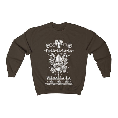 Sweatshirt Dark Chocolate / S Unisex Viking Ancient Warrior Fa-La-La Valhalla Christmas Holiday Sweater