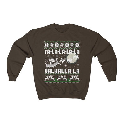Sweatshirt Dark Chocolate / S Unisex Viking Drakkar Fa-La-La Valhalla Christmas Holiday Sweater Ancient Treasures Ancientreasures Viking Odin Thor Mjolnir Celtic Ancient Egypt Norse Norse Mythology