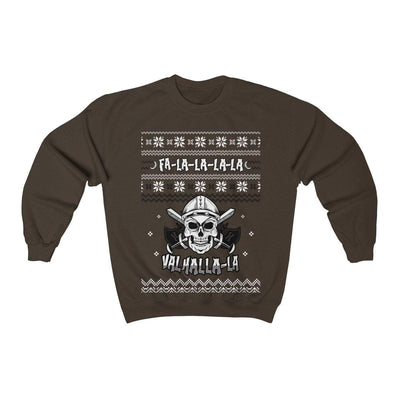 Sweatshirt Dark Chocolate / S Unisex Viking Skull Fa-La-La Valhalla Christmas Holiday Sweater