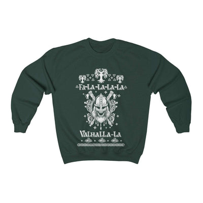 Sweatshirt Forest Green / S Unisex Viking Ancient Warrior Fa-La-La Valhalla Christmas Holiday Sweater
