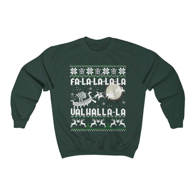 Sweatshirt Forest Green / S Unisex Viking Drakkar Fa-La-La Valhalla Christmas Holiday Sweater Ancient Treasures Ancientreasures Viking Odin Thor Mjolnir Celtic Ancient Egypt Norse Norse Mythology