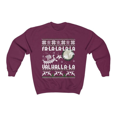 Sweatshirt Maroon / S Unisex Viking Drakkar Fa-La-La Valhalla Christmas Holiday Sweater Ancient Treasures Ancientreasures Viking Odin Thor Mjolnir Celtic Ancient Egypt Norse Norse Mythology