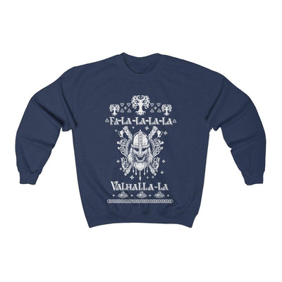 Sweatshirt Navy / S Unisex Viking Ancient Warrior Fa-La-La Valhalla Christmas Holiday Sweater