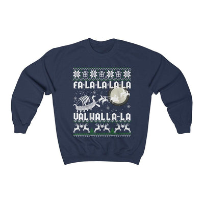 Sweatshirt Navy / S Unisex Viking Drakkar Fa-La-La Valhalla Christmas Holiday Sweater Ancient Treasures Ancientreasures Viking Odin Thor Mjolnir Celtic Ancient Egypt Norse Norse Mythology