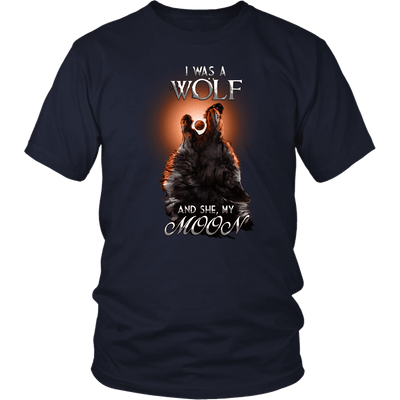 T-shirt District Unisex Shirt / Navy / S I was a Wolf and She My Moon Norse Design