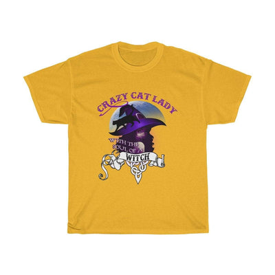 T-Shirt Gold / S Crazy Cat Lady Witch T-Shirt