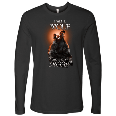 T-shirt Next Level Mens Long Sleeve / Heavy Metal / S I was a Wolf and She My Moon Norse Design