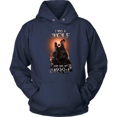 T-shirt Unisex Hoodie / Navy / S I was a Wolf and She My Moon Norse Design