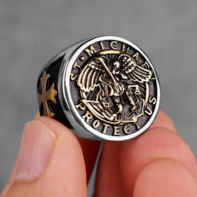 Templar 7 / R062A-Gold Archangel Michael Protection Stainless Steel Ring