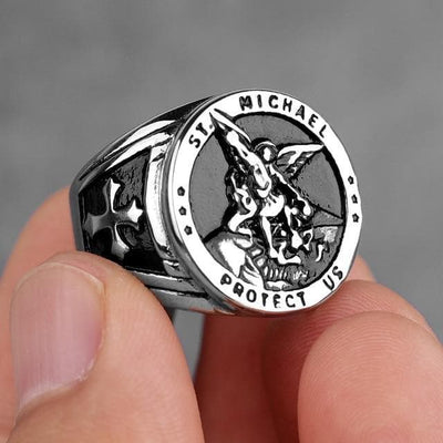 Templar 7 / R062C-Silver Archangel Michael Protection Stainless Steel Ring