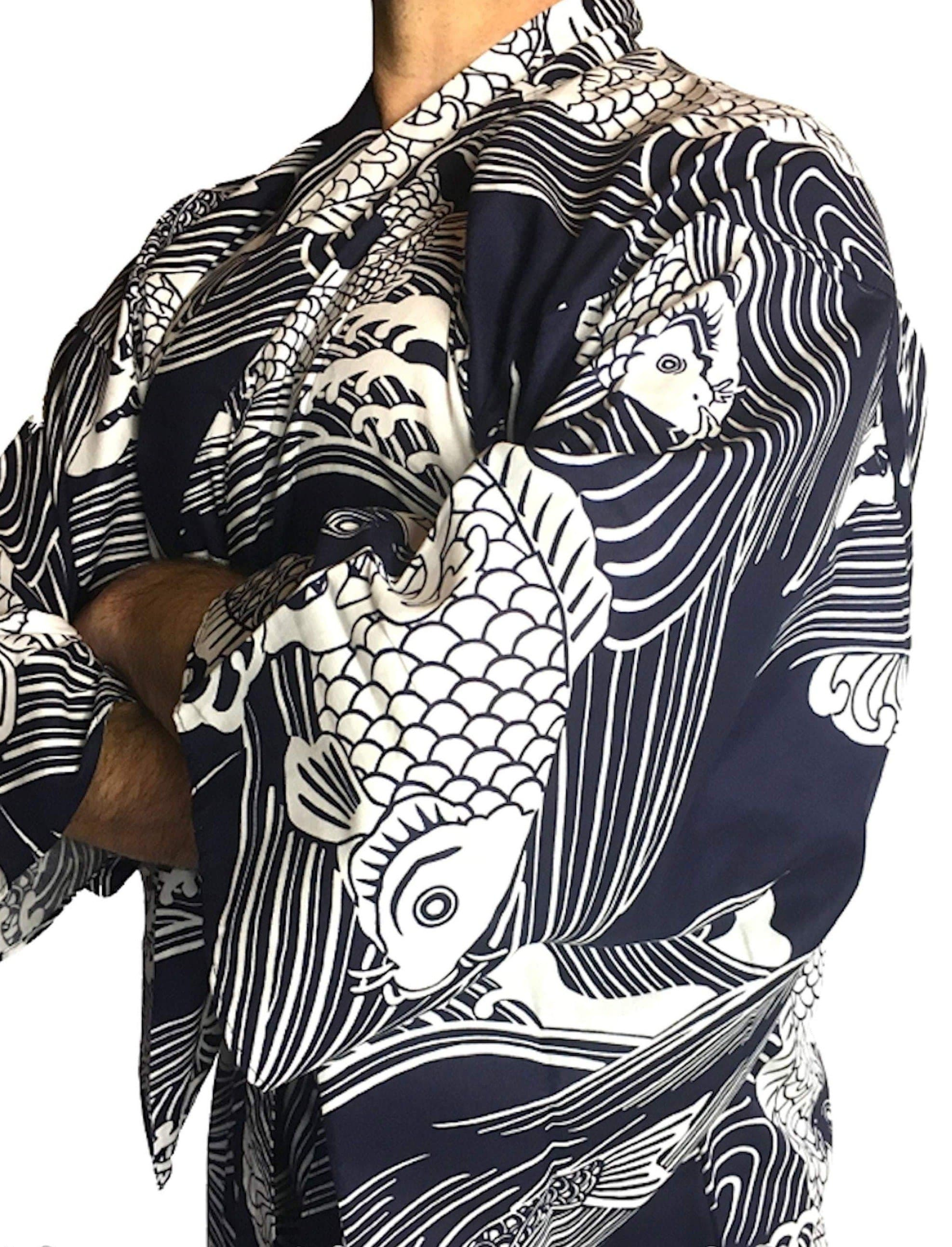 Feudal Japan Koi Men's Yukata - Traditional Japanese Kimono Bathrobe