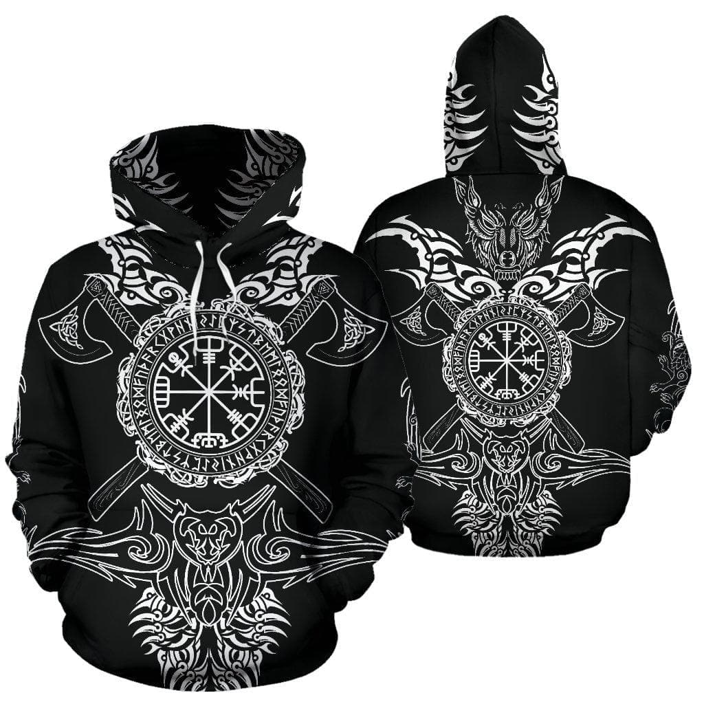 Vegvisir 'Into Battle' Viking Axes Hoodie Ancient Treasures Ancientreasures Viking Odin Thor Mjolnir Celtic Ancient Egypt Norse Norse Mythology