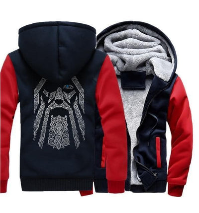 Viking 1red dark blue / M Odin Vikings Hoodie Ancient Treasures Ancientreasures Viking Odin Thor Mjolnir Celtic Ancient Egypt Norse Norse Mythology