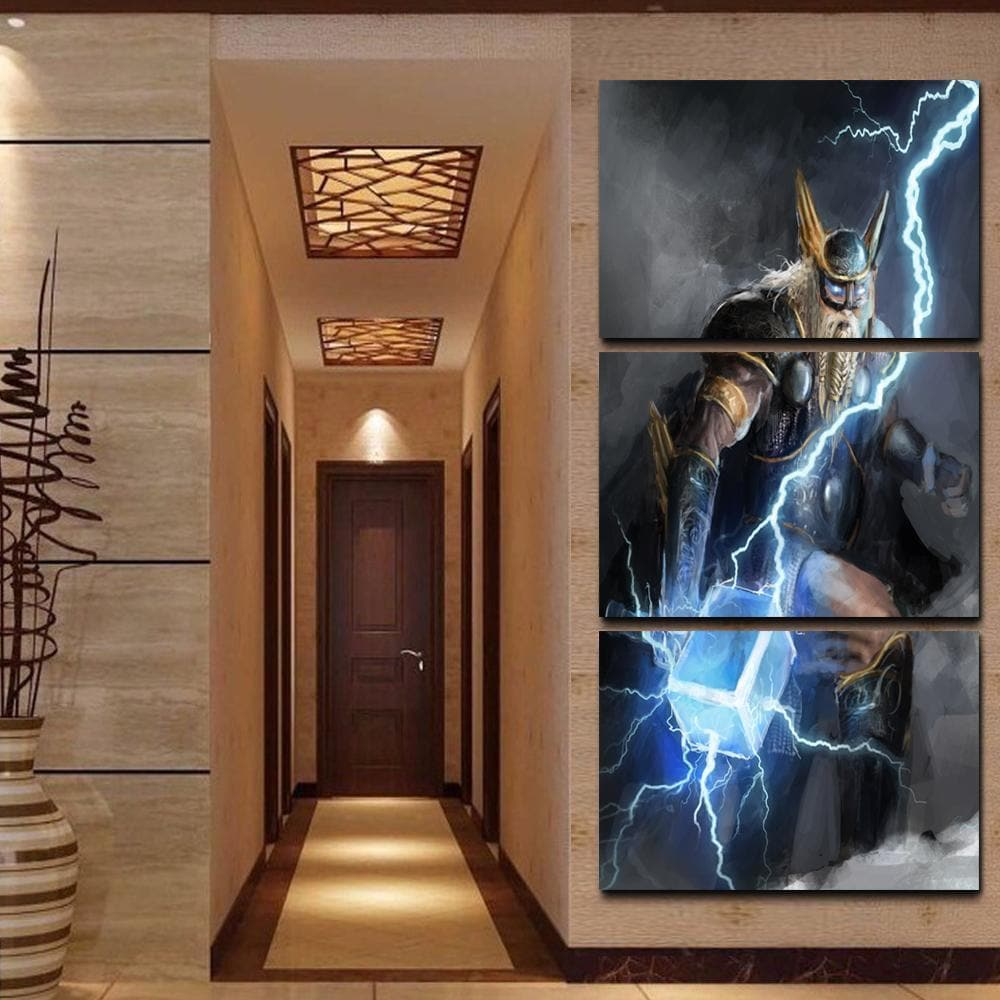 3 Pieces Viking God Of Lightning Thor Canvas