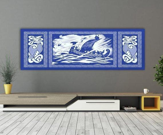 Viking 36W X 12L / Blue Viking Drakkar Dragon Ship Sailing In A Stormy Sea Canvas Ancient Treasures Ancientreasures Viking Odin Thor Mjolnir Celtic Ancient Egypt Norse Norse Mythology