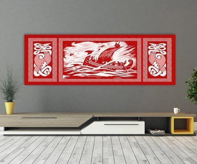 Viking 36W X 12L / Red Viking Drakkar Dragon Ship Sailing In A Stormy Sea Canvas Ancient Treasures Ancientreasures Viking Odin Thor Mjolnir Celtic Ancient Egypt Norse Norse Mythology