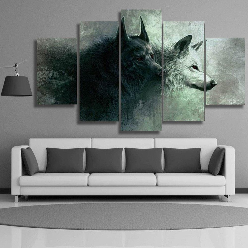 5 Pieces Geri and Freki Nordic Wolves Canvas