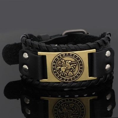 Viking Black Elder Futhark And Valknut Symbol Bracelet