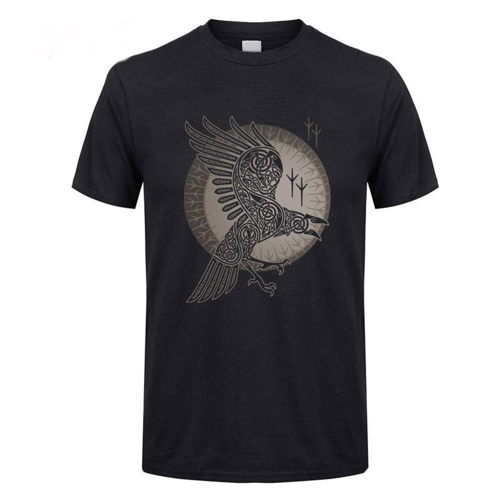 Viking Black / XS Raven of Odin T-Shirt Ancient Treasures Ancientreasures Viking Odin Thor Mjolnir Celtic Ancient Egypt Norse Norse Mythology