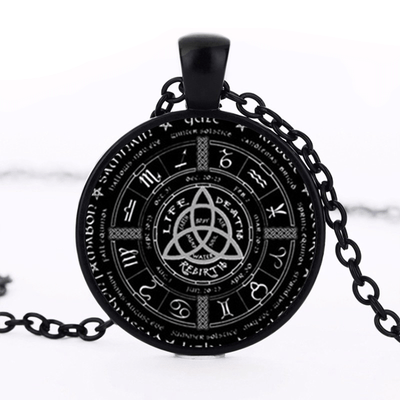 Viking Black Zinc Plated Viking Triquetra Zodiac Necklace