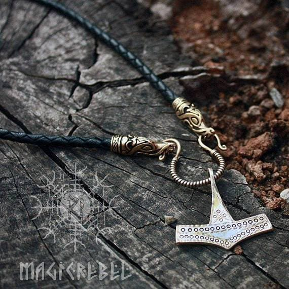 Bronze Handmade Mjolnir Pendant Necklace