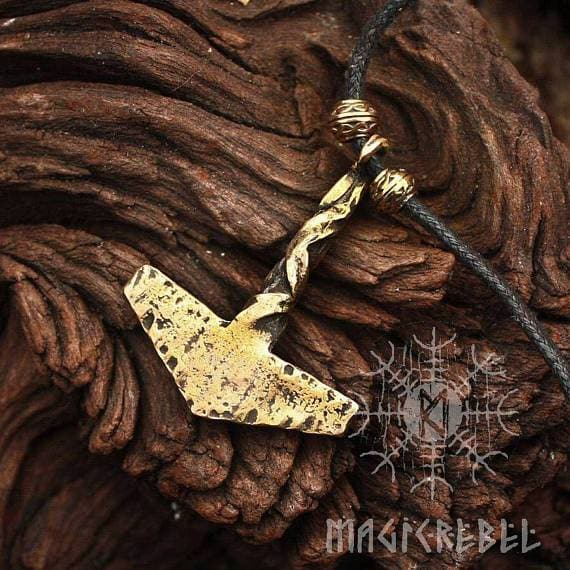 Bronze Handmade Rustic Twisted Mjolnir Necklace