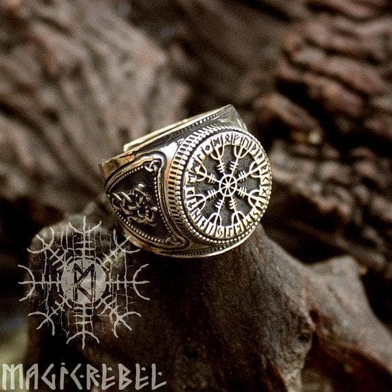 Viking Bronze Helm of Awe Aegishjalmur Futhark Viking Adjustable Ring Ancient Treasures Ancientreasures Viking Odin Thor Mjolnir Celtic Ancient Egypt Norse Norse Mythology