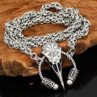 Viking Default Title Stainless Steel Helm of Awe Necklace Handmade Chain