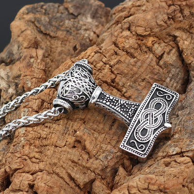 Stainless Steel Mjölnir Necklace With Norse Symbols