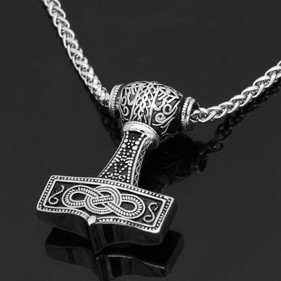 Viking Default Title Stainless Steel Mjölnir Necklace With Norse Symbols