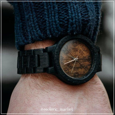 Viking Default Title Viking Wooden Watch with Aegishjalmur and Runic Circle