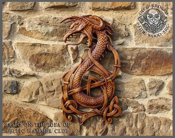 Fenrir Wolf Norse Dragon Fine Wood Carving