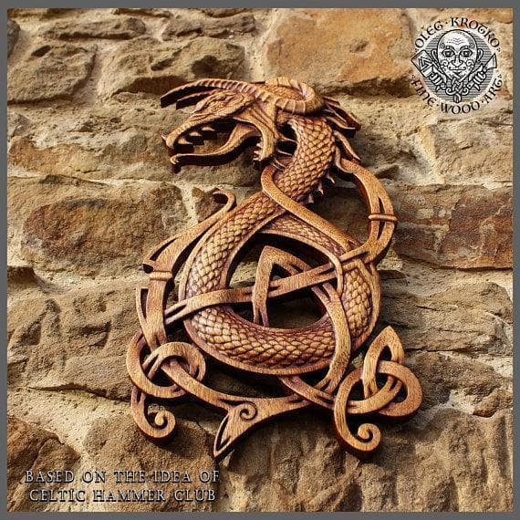 Fenrir Wolf Norse Dragon Fine Wood Carving - Ancient Treasures