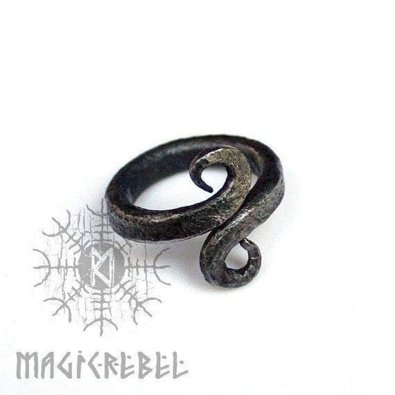 Forged Iron Handmade Viking Jormungandr Serpent Nordic Ring