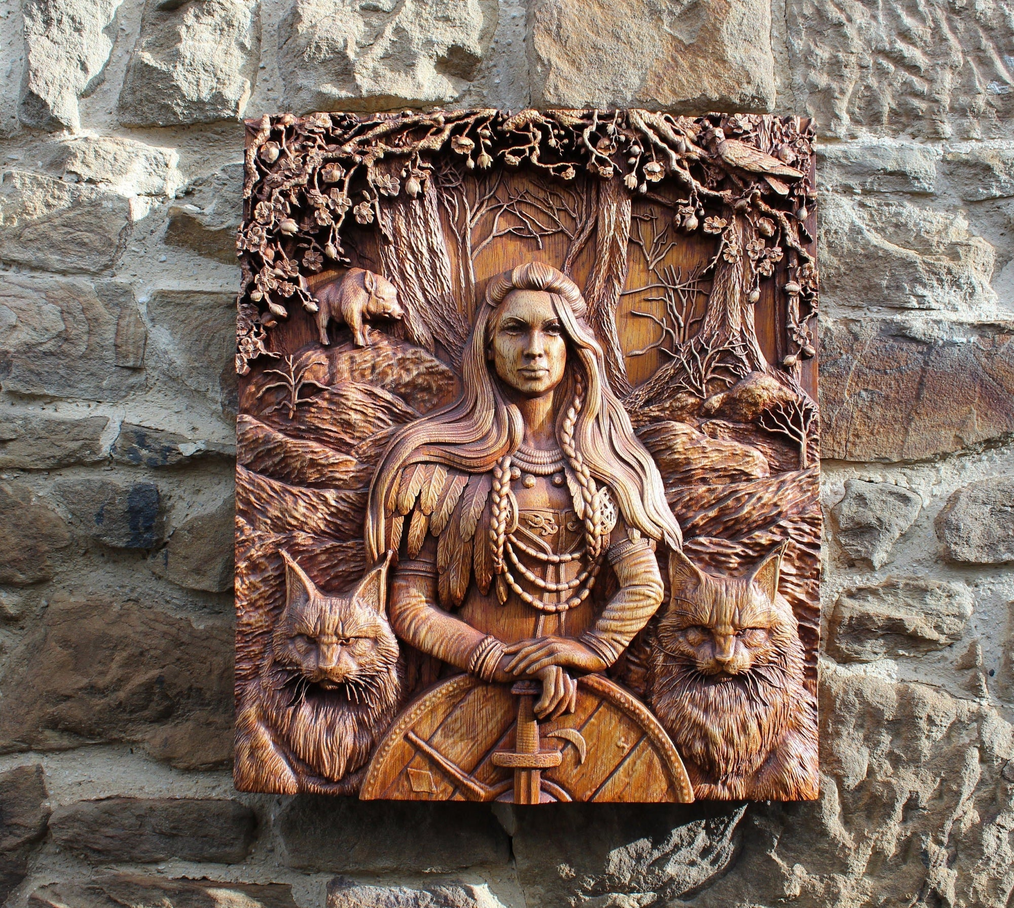 Viking Freya and her Cats 3D Fine Wood Carving
