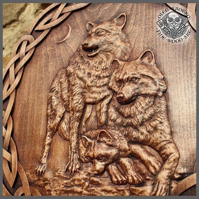Viking Geri and Freki Nordic Wolves Artist's Fine Wood Carving Ancient Treasures Ancientreasures Viking Odin Thor Mjolnir Celtic Ancient Egypt Norse Norse Mythology