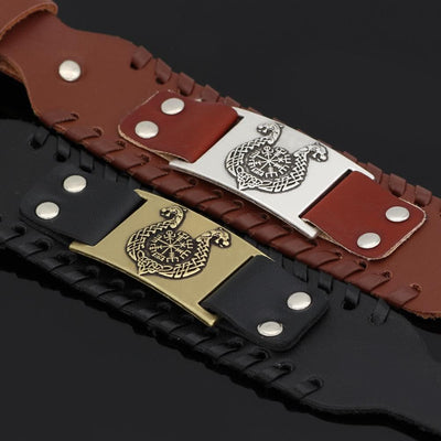 Viking Gold Leather Bracelet with Vegvisir Symbol Plate