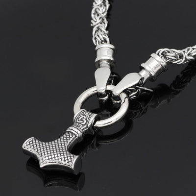 Viking HANDMADE Stainless Steel Chain Geri and Freki Mjolnir Necklace Ancient Treasures Ancientreasures Viking Odin Thor Mjolnir Celtic Ancient Egypt Norse Norse Mythology