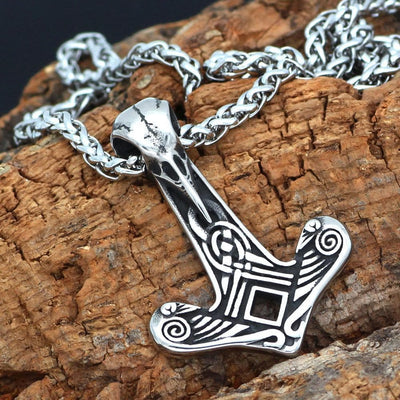Viking HANDMADE Stainless Steel Chain With Raven Skull Ancient Treasures Ancientreasures Viking Odin Thor Mjolnir Celtic Ancient Egypt Norse Norse Mythology