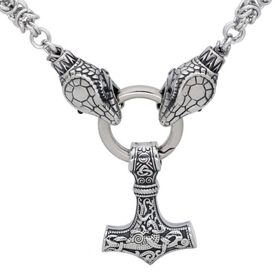 Viking HANDMADE Stainless Steel Jörmungandr Mjolnir Chain Ancient Treasures Ancientreasures Viking Odin Thor Mjolnir Celtic Ancient Egypt Norse Norse Mythology