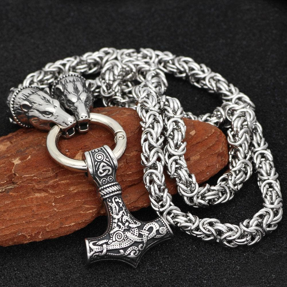 Viking HANDMADE Stainless Steel Massive Viking Geri and Freki Mjolnir Necklace Ancient Treasures Ancientreasures Viking Odin Thor Mjolnir Celtic Ancient Egypt Norse Norse Mythology