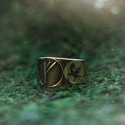 Viking Handmade Viking Huginn and Muninn Rune Ring Ancient Treasures Ancientreasures Viking Odin Thor Mjolnir Celtic Ancient Egypt Norse Norse Mythology