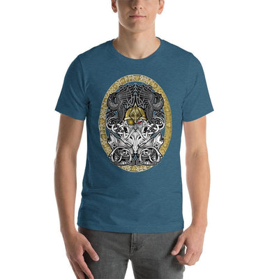 Viking Heather Deep Teal / S Odinn Alfather Viking T-Shirt by CelticHammerClub Ancient Treasures Ancientreasures Viking Odin Thor Mjolnir Celtic Ancient Egypt Norse Norse Mythology