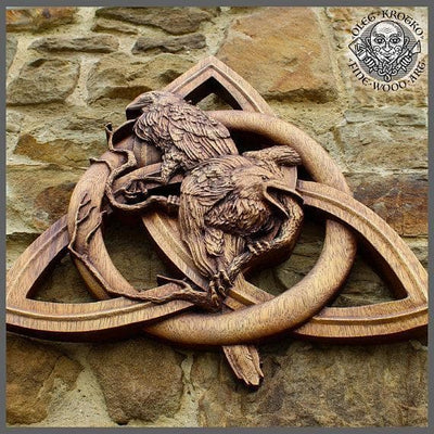 Viking Huginn and Munnin Odin's Ravens on a Triquetra Fine Wood Carving Ancient Treasures Ancientreasures Viking Odin Thor Mjolnir Celtic Ancient Egypt Norse Norse Mythology